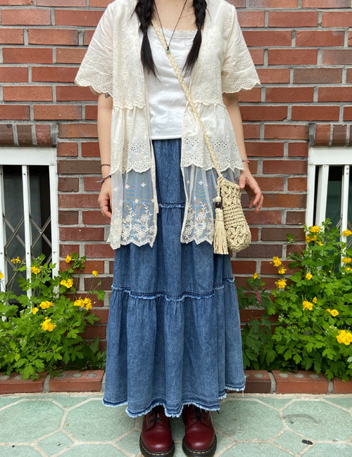 Lace short sleeve cardigan (2color)